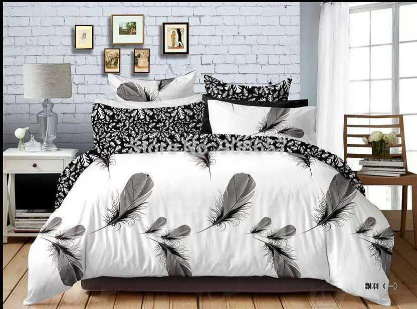 2018 black white feather print bedding set boys gentleman home comforter cover cotton fabric full queen size duvet cover sheet set from minyu2015