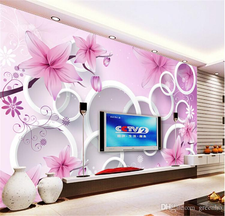 3d Elegant Pink Lily Photo Wallpaper Custom Flowers Wall Mural Silk Wallpaper Children Bedroom