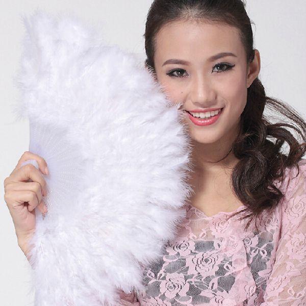 Los aficionados ventilador de la pluma espectáculo de danza niña china pluma plegable elegante decoración de la boda del ventilador de la mano de Plactic ventilador de la mano de la vendimia honorable