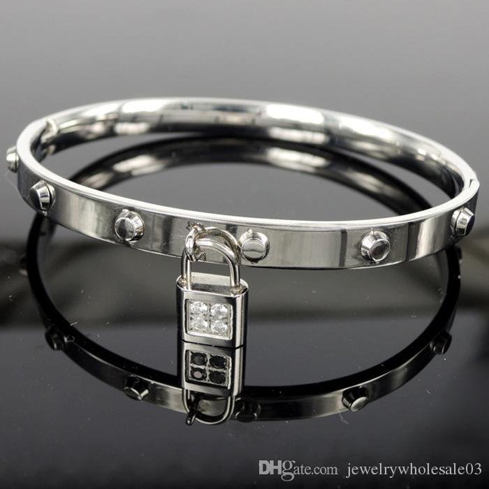 indian bangles bracelets Crystal Jewelry Lock Lovers Bangles key Bracelet titanium stainless steel jewelry cuff bangle bracelets for women