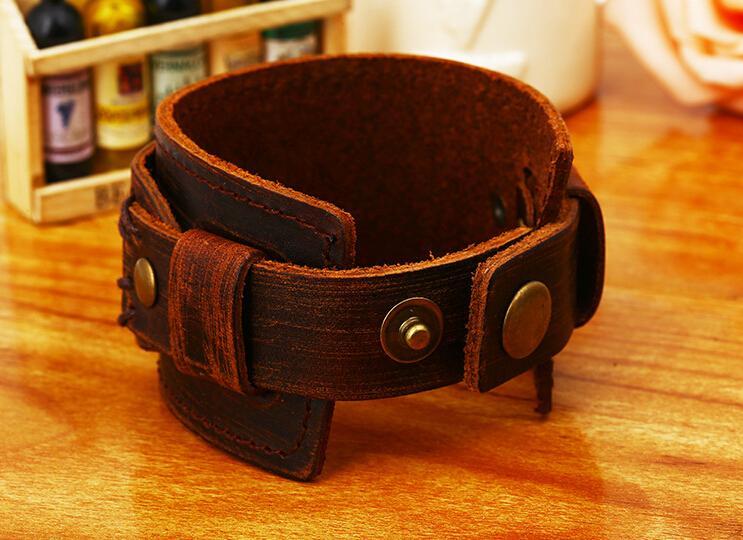 Retro Leather Braided Men Wrap Punk Bracelet Bangles Gifts Wristband Belt Handmade Vintage Bracelet Genuine Cowhide Leather Bracele