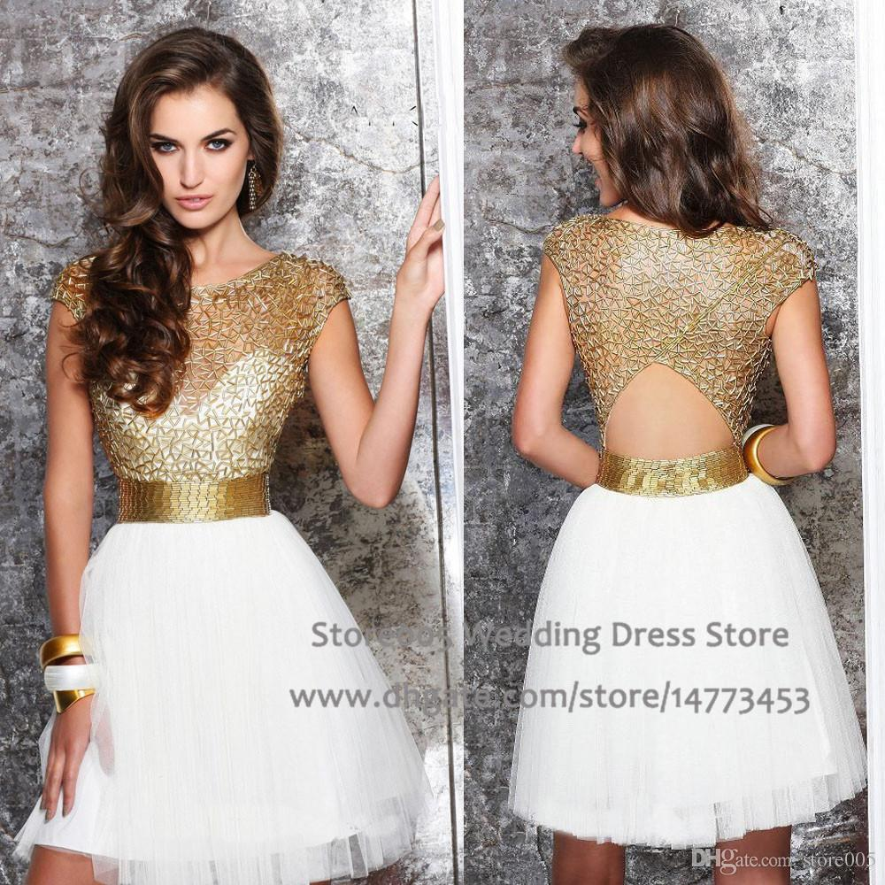 White Gold Robe Cocktail Dresses Short Backless Beaded Cap Sleeve ...
