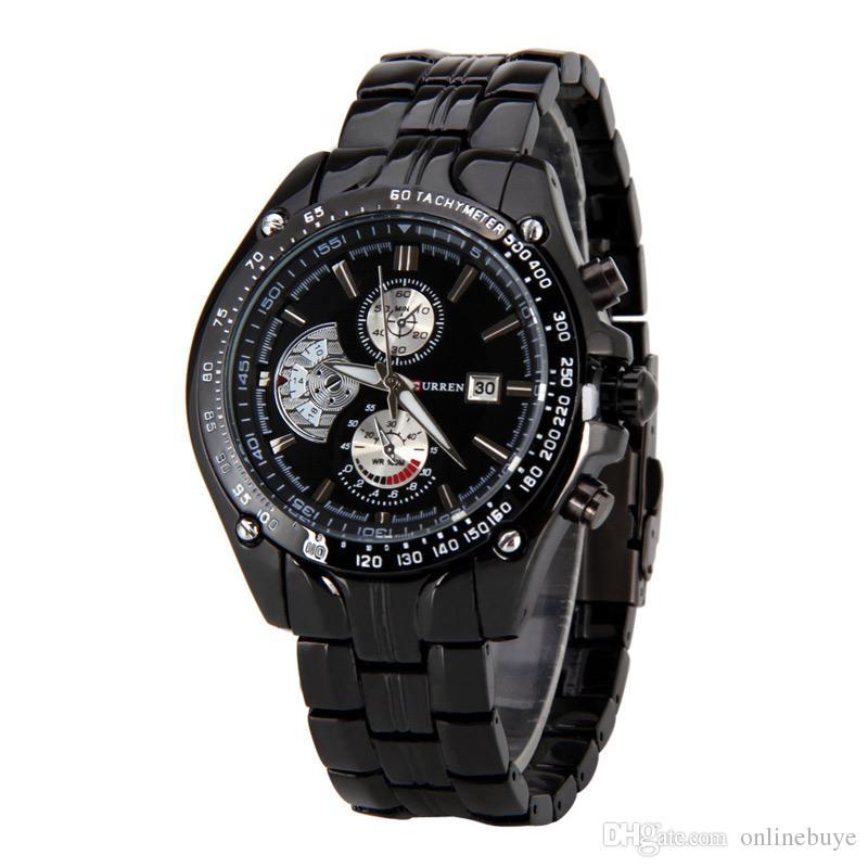 40a5bd57b51 Compre Brand New Curren Relógios Homens Marca De Luxo Militar Assista Man  Completa De Aço Relógios De Pulso Moda Relogio Masculino À Prova D  Água  8083 ...