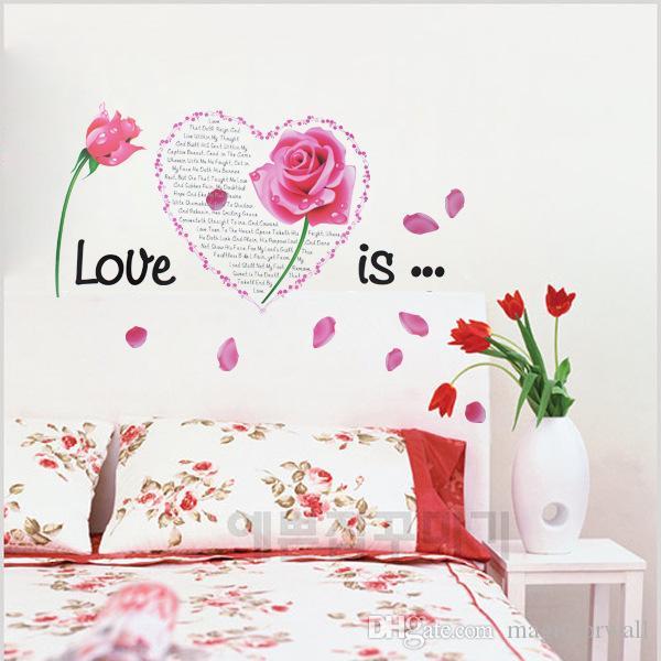 Blumen Liebe ist Wand Zitat Aufkleber Aufkleber Schlafzimmer Kopfteil Wandbild Dekor Poster DIY Dekoration Tapete Kunst