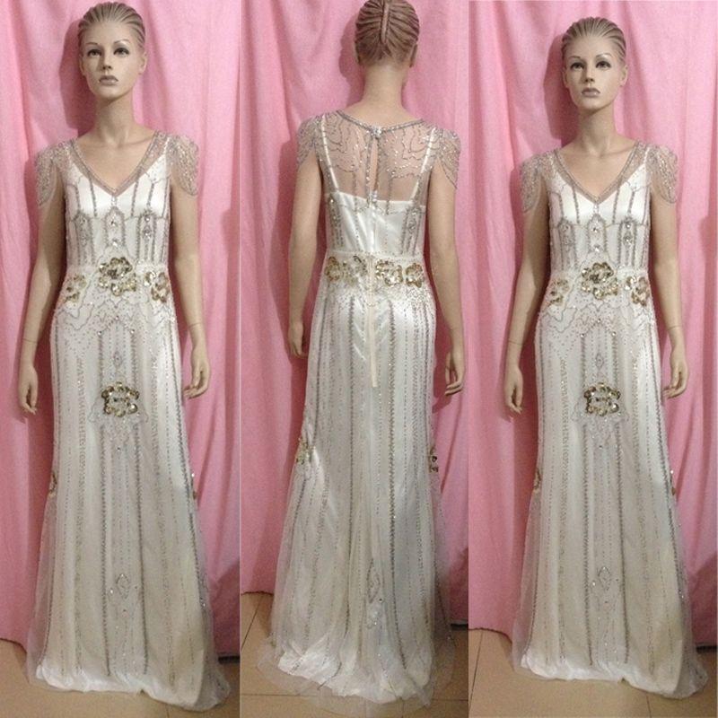 Gatsby Wedding Gown: 2014 Vintage Gatsby Wedding Gowns Sheath Open Back With