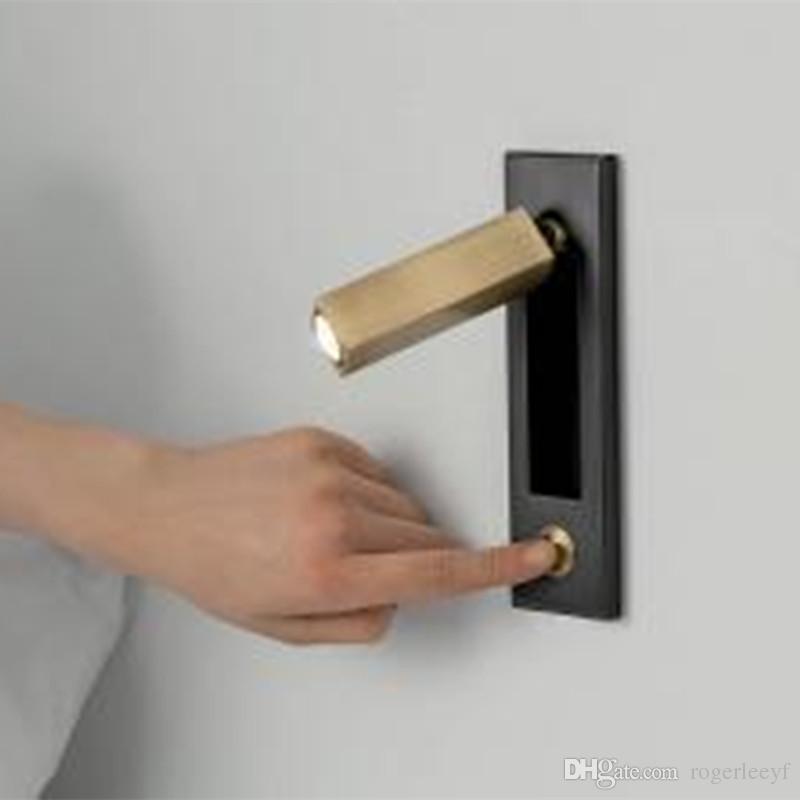 Topoch gömme aplik lambası siyah gövde krom anahtarı kafa 90 derece sol / sağa veya ileri dikey yatay olarak monte edilmiş