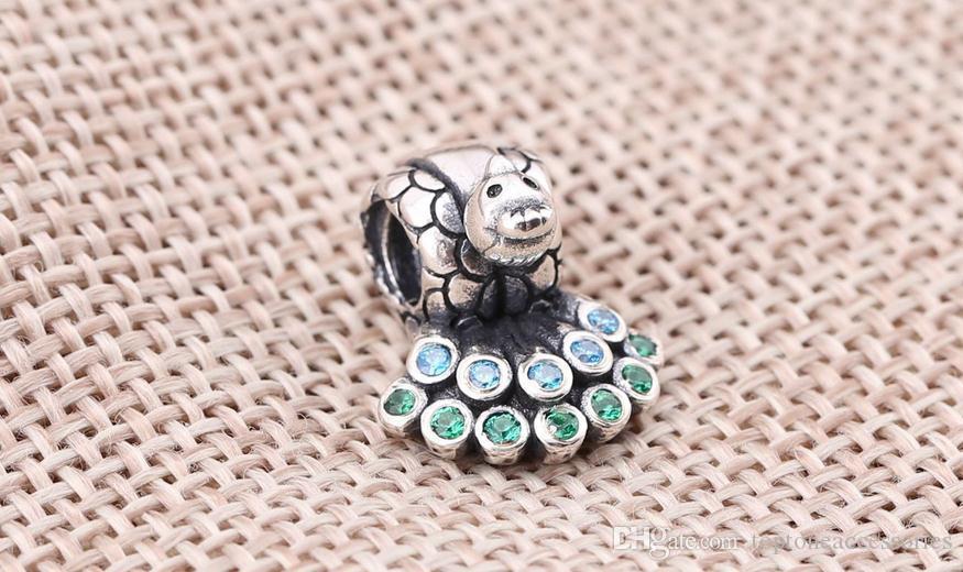 Charms in argento sterling 925 Ale strass pavone europeo Charms bracciali Pandora fai da te accessori perline animali spedizione gratuita