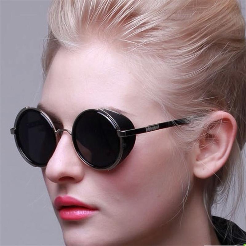 Tops Fashion Vintage Round Sun Glasses Steampunk Retro Sunglasses Steampunk Metal Coating Cool Men Retro Circle Sunglasses Women