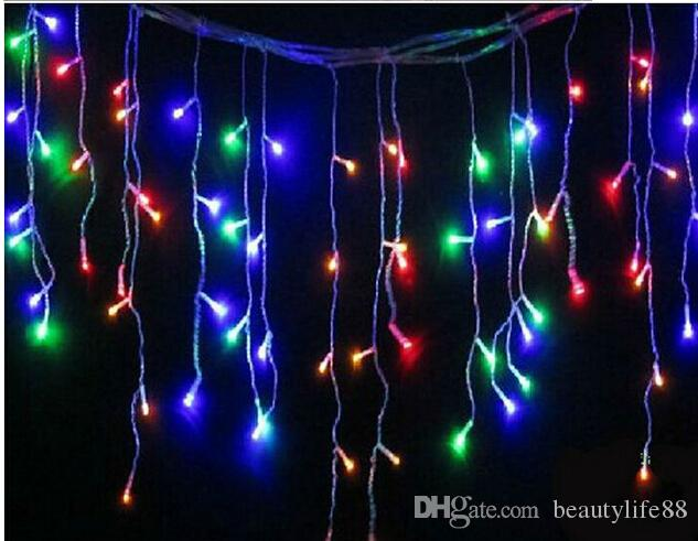 cheap 16ft 5m 200led icicle curtain led string lights snowing christmas light garden lamps for xmas wedding party decor 110v 220v white christmas string - White Christmas Lights Cheap