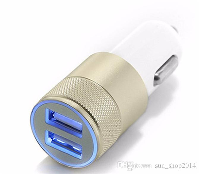 Mini Aluminum Material Dual 2 Port Universal USB Car Charger Cable Adapter For iphone 8 X ipad 2 3 4 Samsung Galaxy S4