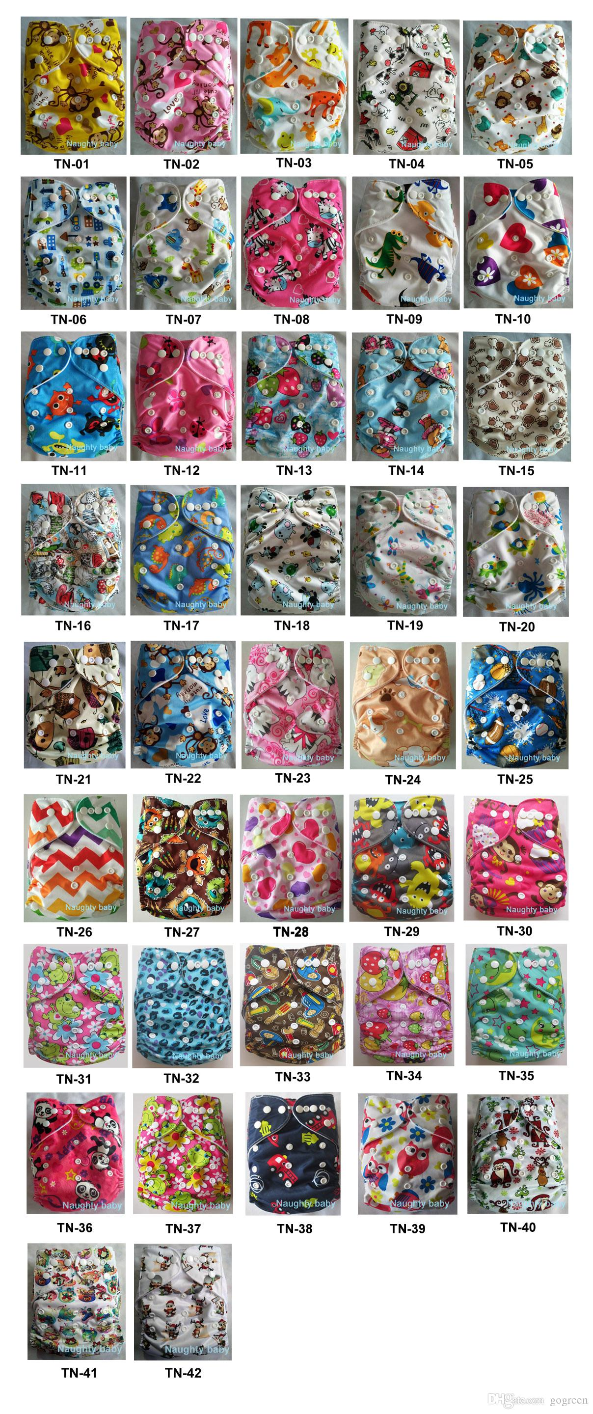 New Print Colorful Nuaghtybaby Reusable Washable Printed Cloth Diaper for Girls boys With Inserts