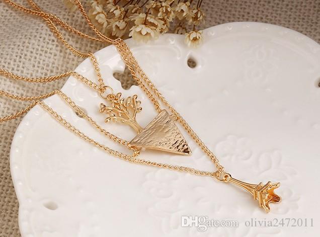 Gioielli donna economici Collana girocollo Collana multistrato oro Collana girocollo sexy a forma di foglia di angelo Collana pendente HZ