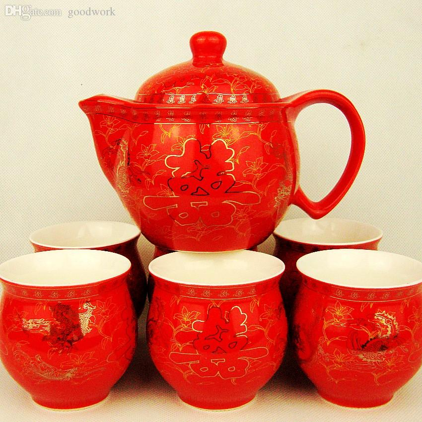 Best Wholesale 7 Double Red Ceramic Glaze The Word Wedding Tea Set King Cup Gift Supplies Under 10829