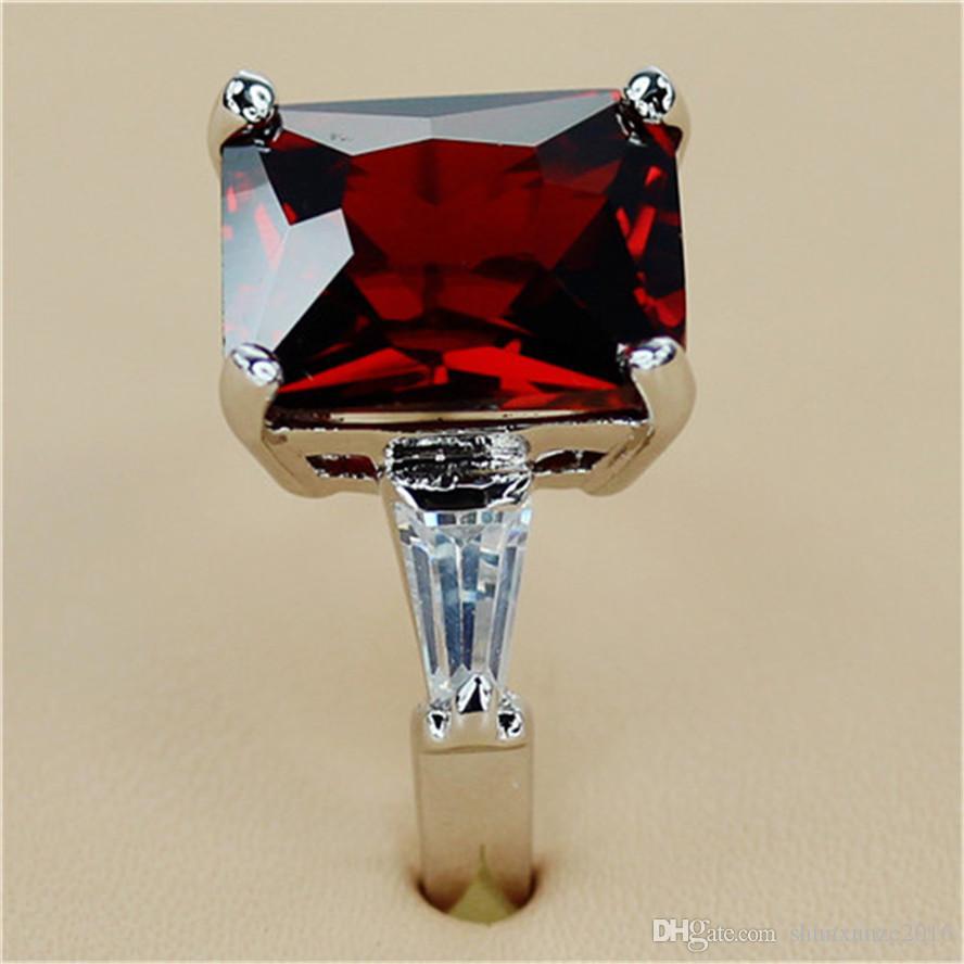 De nieuwe aanbieding beveel romantisch nobel genereus MN130 SZ # 6 7 8 Mooie rode kubieke zirkonia sportieve koperen rhodium plated voor vrouwen ringen