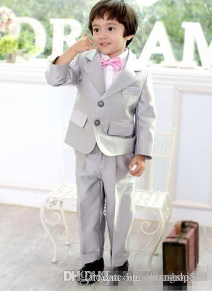 Grey Boys Formal Wear Suits For Boy Notch Lapel Baby Kids Formal Suit Wedding Party Children TuxedosJacket+Tie+Pants