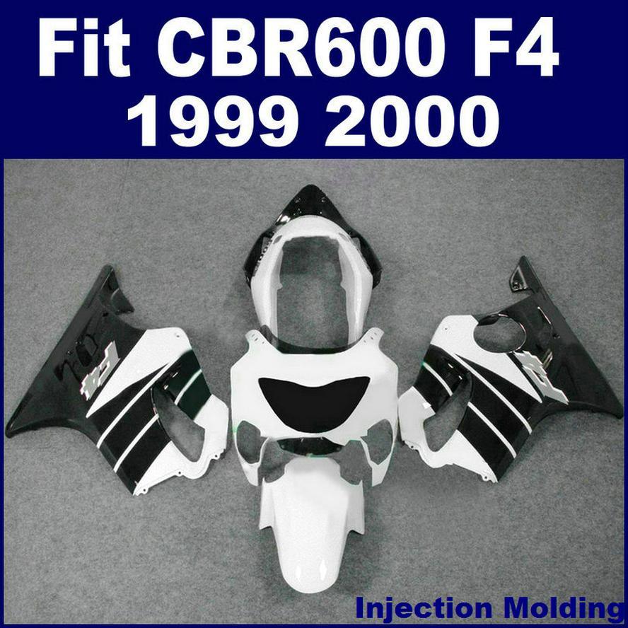 7Gifts + 100 ٪ حقن صب هدية ل HONDA CBR600 F4 1999 2000 أسود أبيض 99 00 cbr 600 f4 fairings kits YHXD