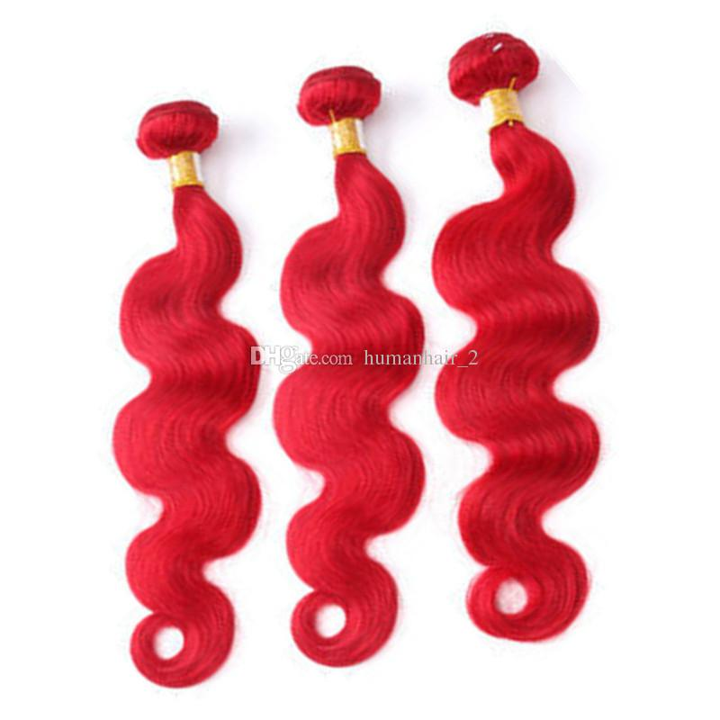 Тело волна бразильский Красный наращивание волос 9a девственные бразильские волосы двойной утки красный цвет девственные волосы плетение пучки 3 шт. Много