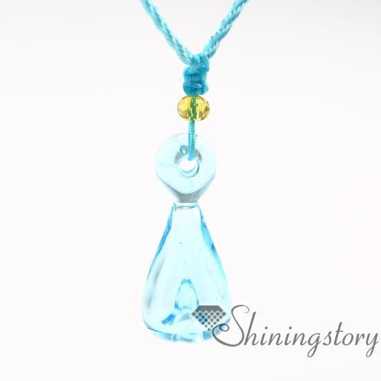 ätherisches Öl Diffusor Halskette Großhandel Handarbeit Glas Aromatherapie Diffusor Anhänger Halsketten ätherisches Öl Halsketten Parfüm Anhänger