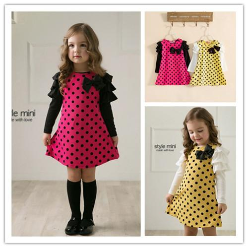 2018 Baby Girls Dresses Children Clothing Designer Dress Kids Clothes Dot Printing Princess Girl Long Sleeve From Hhtoner