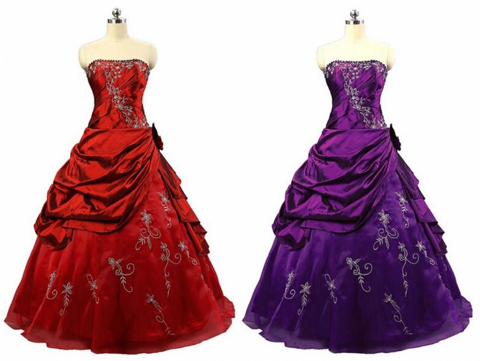 Ball Gown Long Black Red Purple Prom Dresses Rohm Bridal Women