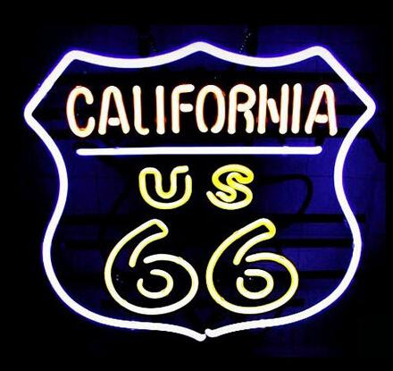 "CALIFORNIA US ROUTE 66 NEON SIGN STORE DISPLAY KTV CLUB BEER BAR PUB CUSTOM REAL GLASS TUBE LIGHT CUSTOM NEON SIGNS 17""X14"""