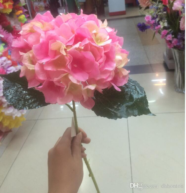 "Artificial Hydrangea Flower 80cm/31.5"" Fake Silk Single Hydrangeas for Wedding Centerpieces Home Party Decorative Flowers SF015"