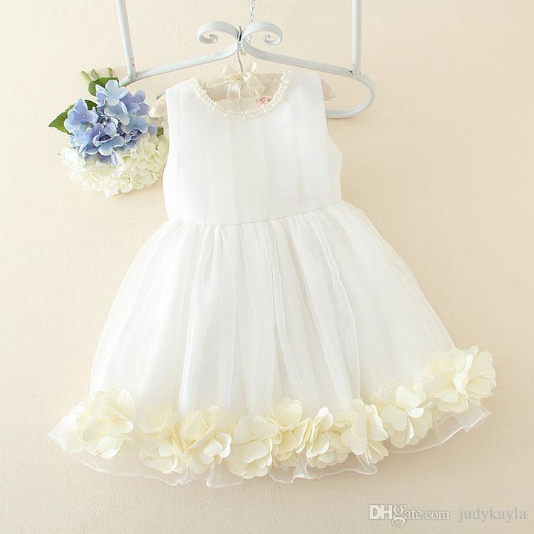 高品質の商品子供のウェディングドレス女の子の花の子供たちの子供の王女パーティードレスピュアホワイトビッグ子供衣装100-160 AB2748
