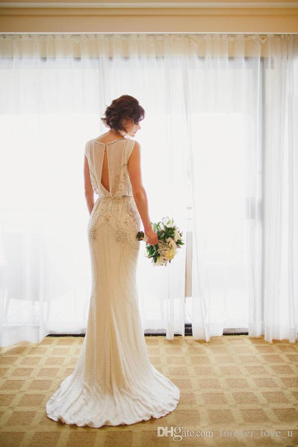 스파크 크리스탈 인어 웨딩 드레스 칼럼 환상 Bateau Neckline Keyhole Back Bohemian Beading Bridal Gowns Sequins 스윕 열차