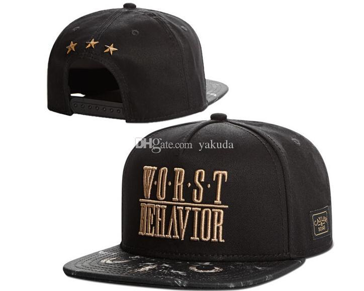 8c22af98a52 2019 2015 CAYLER   SONS Snapback Worst Behavior Schwarz Rot Cap Drake  Adjustable Fashion Snapbacks Baseball Caps