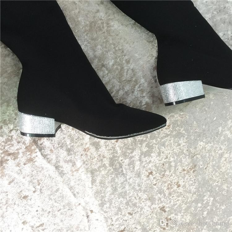 Crystal Heels Women Knee High Boots Black Brand Pointed Toe Suede Elastic Lady American Chunky Chelsea Long Booties Size 43 Zapatos Mujers