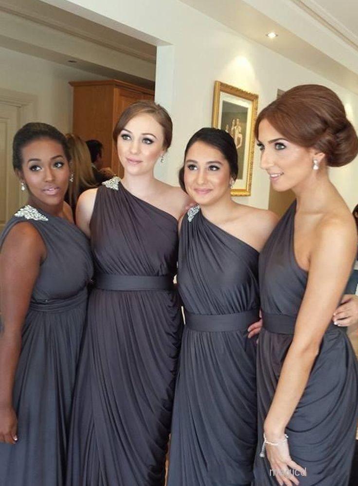 Robes de demoiselle d'honneur vintag nouveau pas cher une épaule gris longueur de plancher ramasser gaine drapée pour les mariages perles robe de soirée robes de bal moins de 100