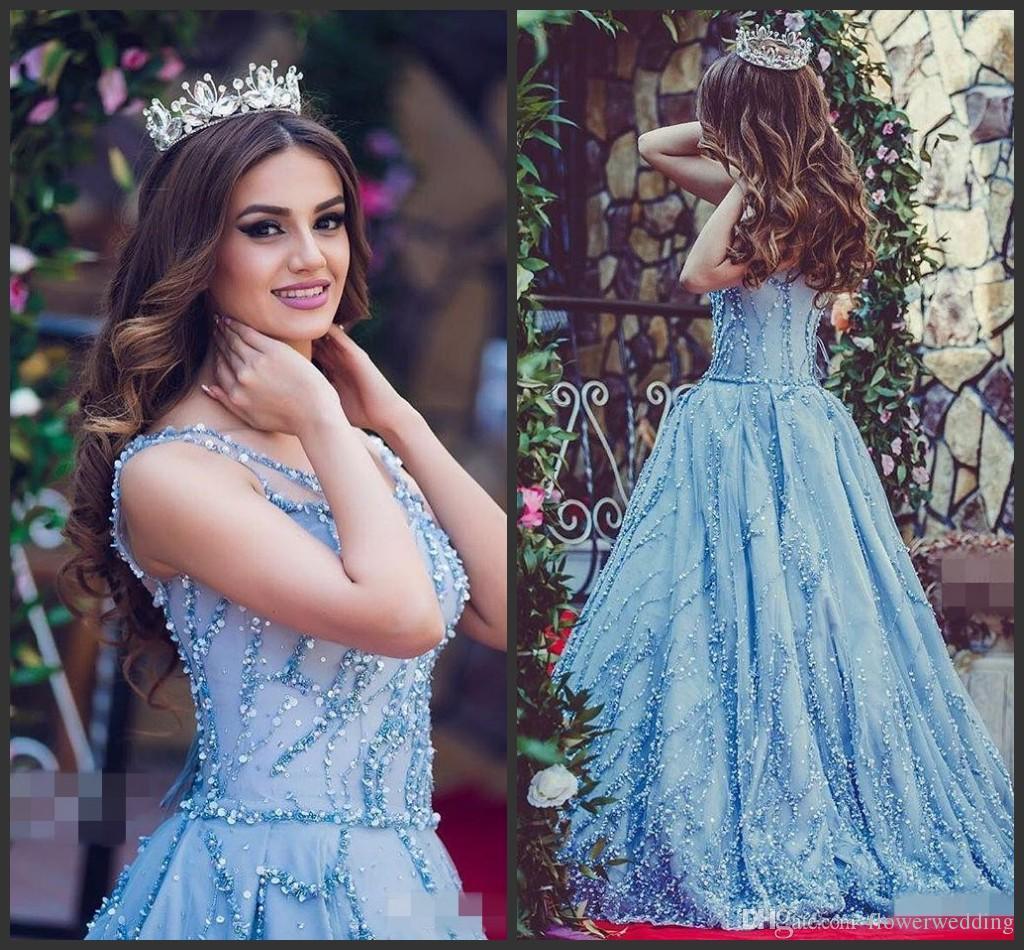 Compre Vestidos De Boda De Tul De Lujo Azul Vestidos De Novia 2018 ...