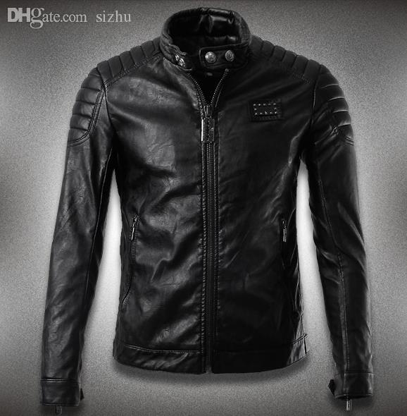 Best Fall Black Winter Stand Collar Casual Mens Leather Jackets ...