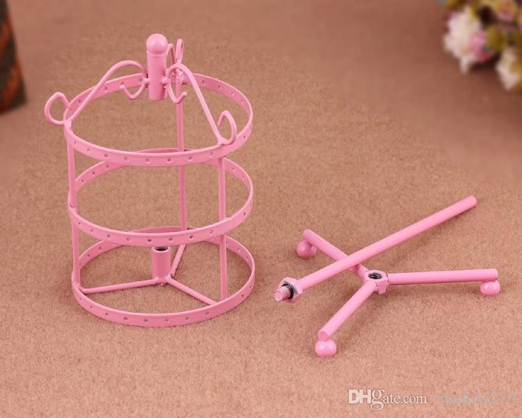 Multicolor hoge kwaliteit ijzer roteerbare verwijderbare drie lagen prinses oorbel houder oorbellen display stand sieraden houder