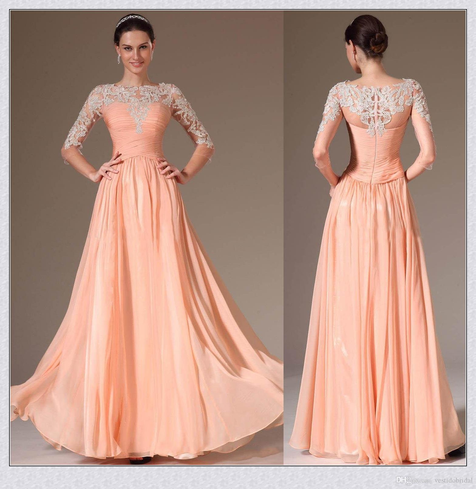 373de260c9d7 Coral Prom Dresses Long2017 Bateau Neck Lace Applique 3/4 Long Illusion  Sleeve A Line Cheap Chiffon Formal Evening Gowns Bridesmaid Dress