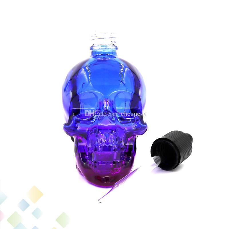 120 ML Crânio Conta-gotas de Vidro 3 Cores Vazias E Garrafas Líquidas de Alta qualidade com Cap Criança À Prova D 'Água Fit Eliquid DHL Livre