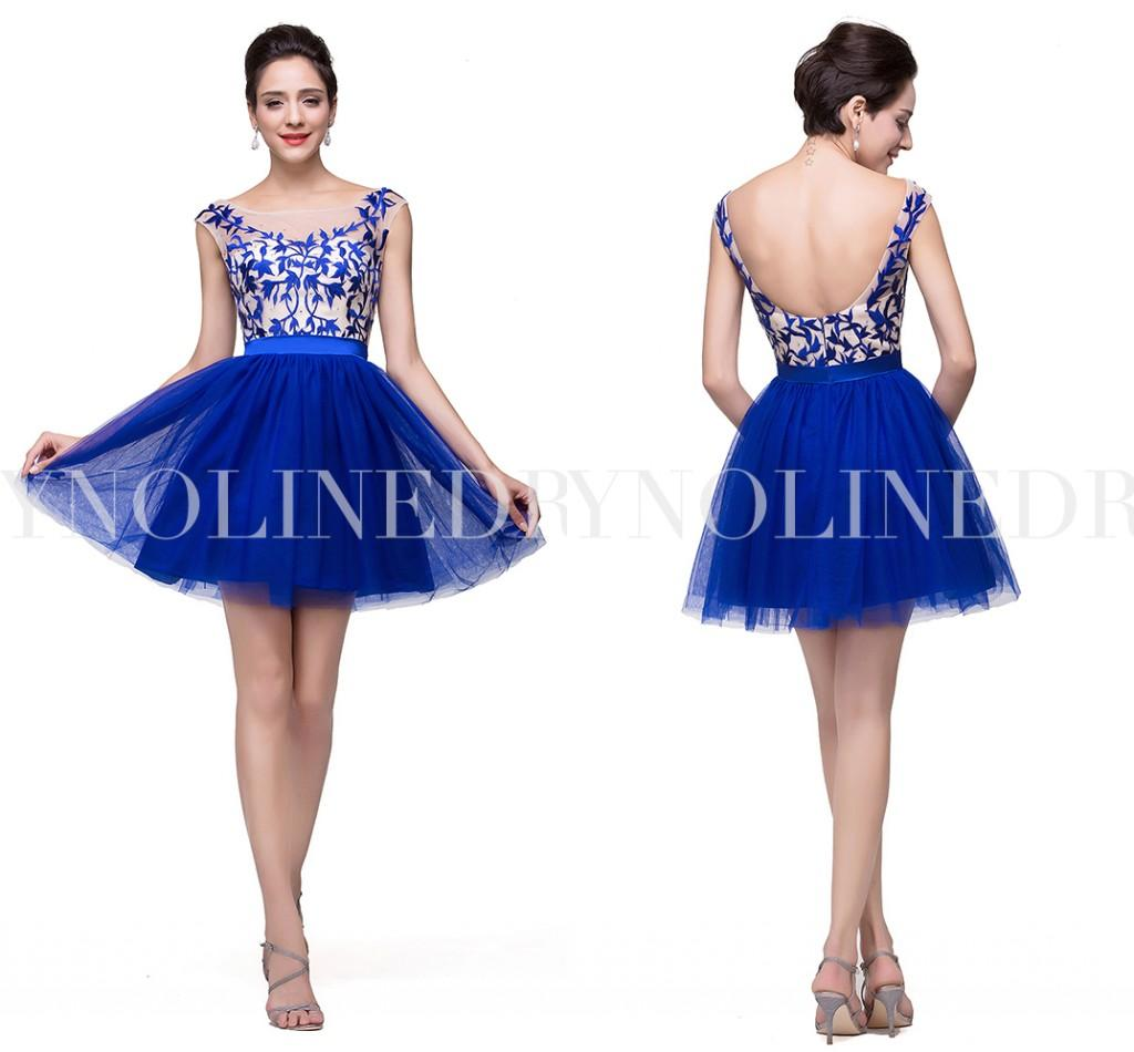 Blue Tight Homecoming Dresses 2015 Short Sleves
