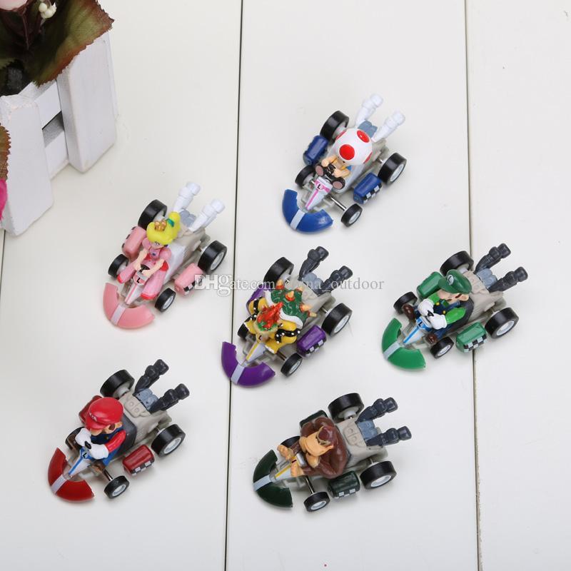 6 шт. / Компл. Супер Mario Bros. Kart PULL НАЗАД Автомобили Фигурки Mario Kart рисунок ПВХ куклы