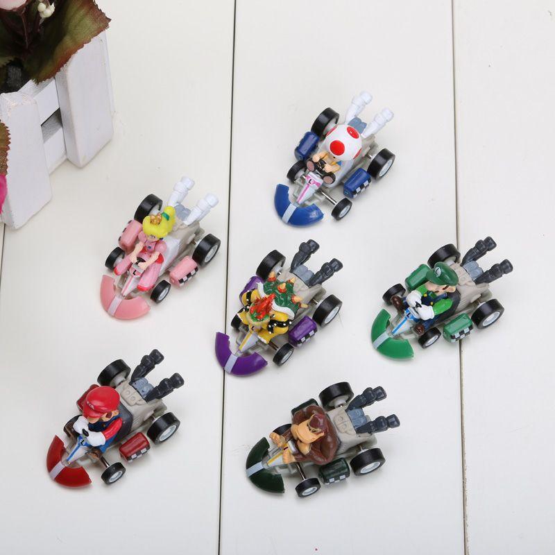 Super Mario Bros Kart VOLVER ATRÁS figuras del coche 6 unids / set envío gratis