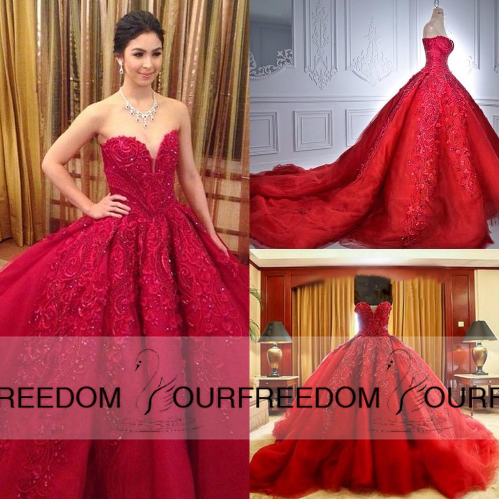 Chinese Read Luxury Ball Gown Wedding Dresses 2016