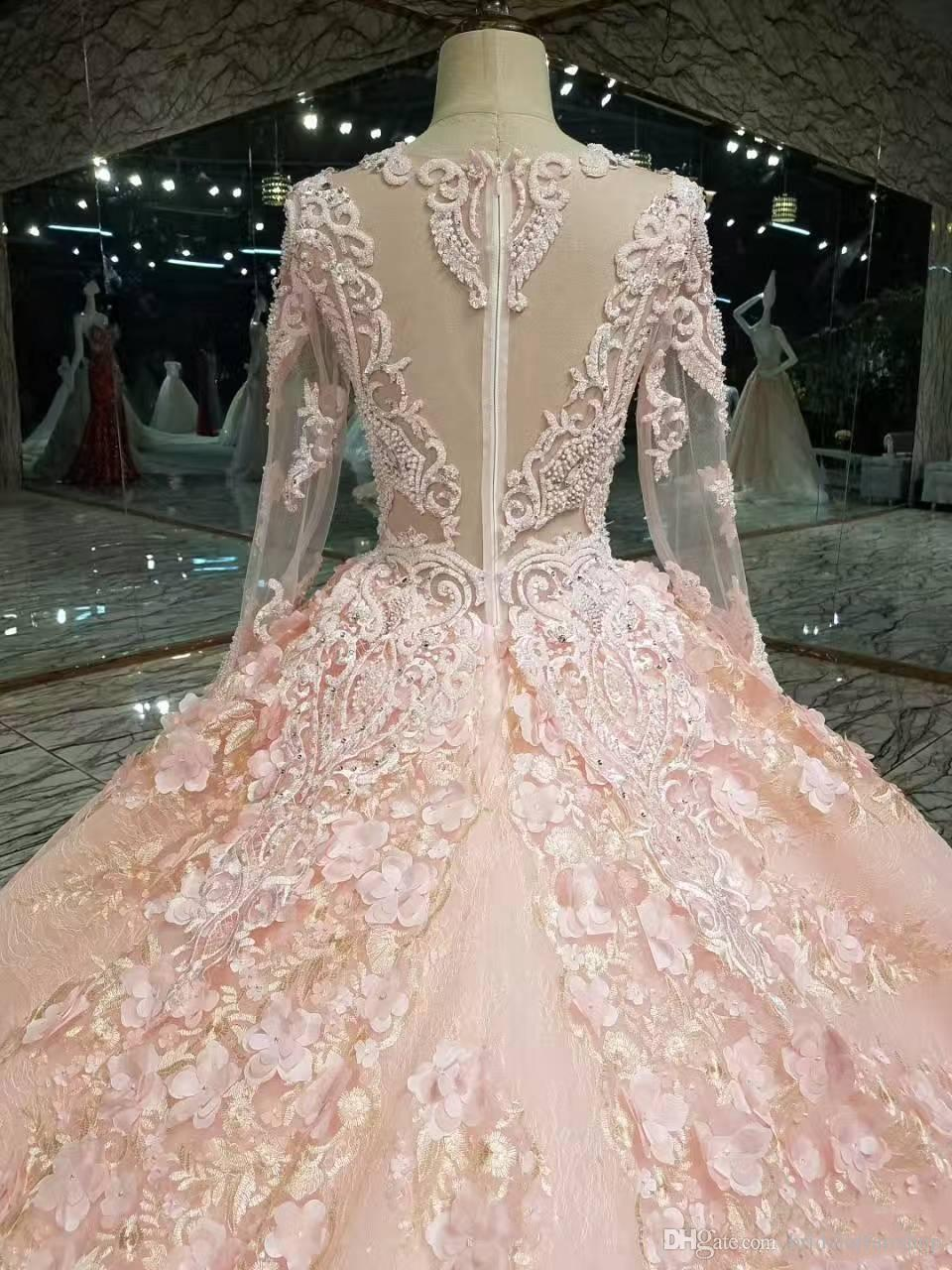 2018 winter fall snow garden V neck Ball gown long sleeves wedding dresses western hands made flowers bridal wedding gowns