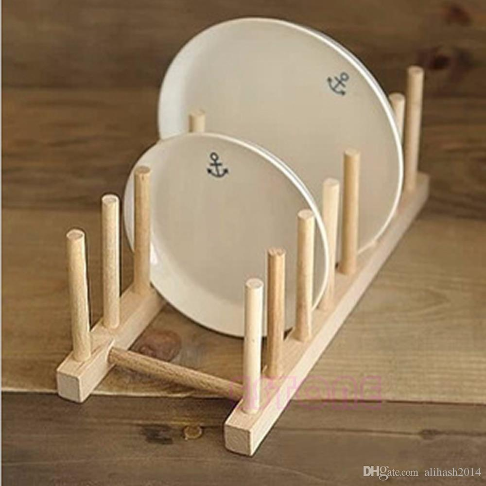 2018 New Wooden Drainer Plate Stand Wood Dish Rack 7 Pots Cups Display Holder Kitchen From Alihash2014 $7.06 | Dhgate.Com & 2018 New Wooden Drainer Plate Stand Wood Dish Rack 7 Pots Cups ...