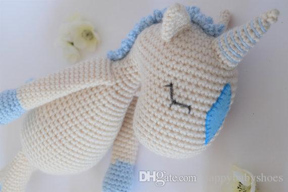 Crochet Amigurumi the Unicorn Stuffed Animal rattle doll toy gift