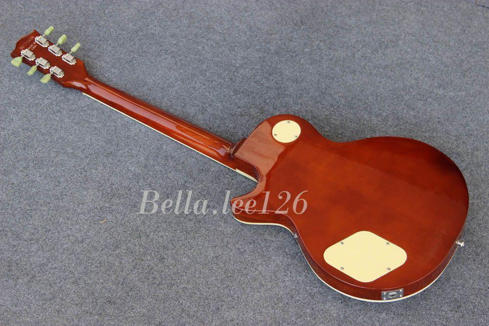 Großhandelsheißer Verkauf Soem handgemachte Standard-Sonnendurchbruch-Farbengitarren elektrisch, Ebenholz Fingerboard, Chorme-Hardware, grüne Tuners, hergestellt in China