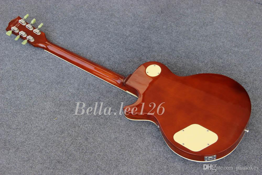 도매 핫 판매 OEM 수제 표준 햇살 컬러 기타, 흑단 지판, Chorme 하드웨어, 녹색 튜너, 중국산