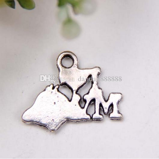 """Hot ! Antique Silver Single-sided design """" I love my dog """" Charms pendants DIY Jewelry 18 x14mm 370"""