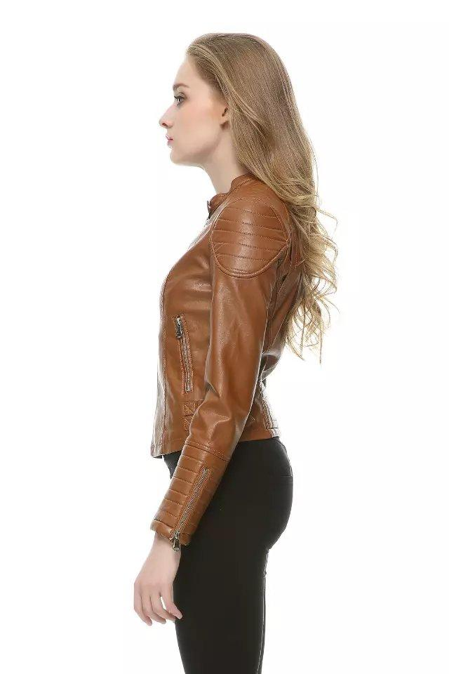 c99b8a1311fde 2019 Wholesale Women Short Faux Leather Jacket Brown Black SML Slim Fit  Motorcyle Leather Coat Female Outwear Clothe Casual Autumn High Quality  From ...