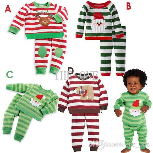 baby kids children clothing sets suits pajamas for christmas santa baby boys Girls 2PC Sets long sleeve stripe t shirt Pants Suits in stock