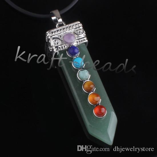 Venta al por mayor 10 unids plata 7 granos de piedra orden mezclada piedra forma de espada Chakra punto de curación de piedra colgante de regalo de la joyería puede elegir color