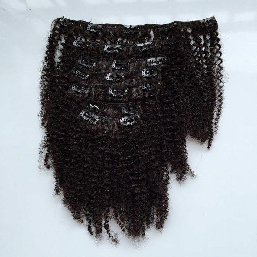 Клип в человеческих наращиваниях для волос для чернокожих женщин Бразильские волосы девственницы AFRO Kinky Curly Clip в удлинении волос kinky Curly Clip Ins